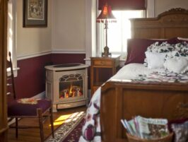 bedroom, bed, fireplace, antique decor