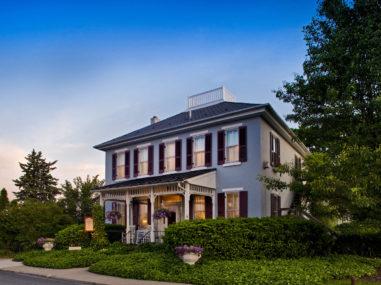 house, inn, garden, bush, tree, blue sky