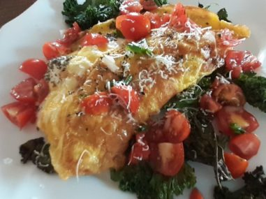 Ricotta Omelet with Kale and Cherry Vinaigrette from The Artists Inn and Gallery